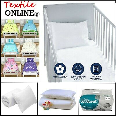 Nursery Baby Cot Bed Duvet Quilt +Pillow Toddler Anti Allergy 4.5, 7.5 and 9 Tog