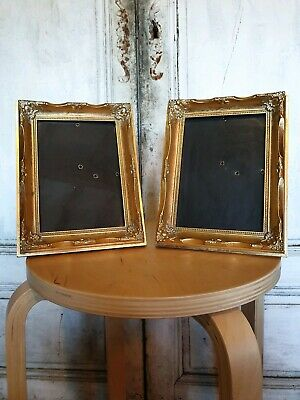 Pair of Small Antique Style Photo Picture Frames Rococo Gold Gilt Ornate French