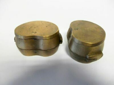 2 antike 3-teilige Messing Dental-Küvetten / 2 antique brass dental cuvettes