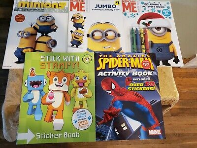 LOT of 5 Assorted Coloring & Activity Books for Children Kids Boys Girls Minion