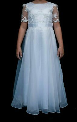 Girls Bridesmaid Dress White 11-12 Years Traditional Embroidered Ex High Street