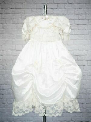 Vintage Girls Bridesmaid Dress 4-5 Years Hooped Ruched Lace Peach Victorian 80s