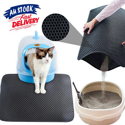Honeycomb Cat Double Layer Pad Kitty Design Waterproof Litter Mat Trapping ACB#