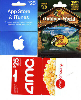 Five (5) $25 Gift Cards,  (3)Outdoor World, iTunes and AMC