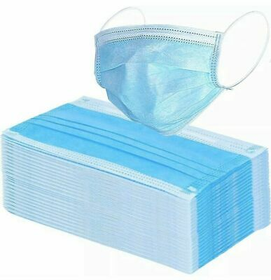 Box of 50 Blue Face Surgical Masks with Ear Loops Latex Free- Virus,Flu