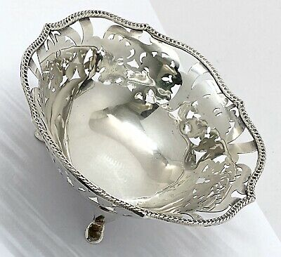 Sterling Silver Scrolled  Open Work Footed Bonbon Dish Candy Nut Bowl