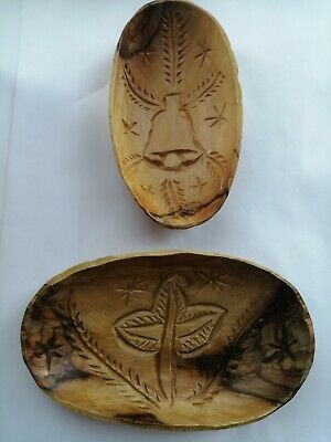 Pair Of Vintage / antigue ethnic Wooden Carved Oval Dishes