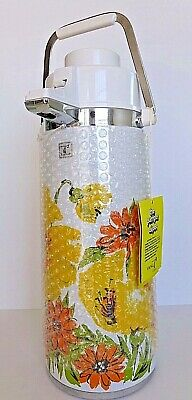 Vintage Pumper Airpot NOS NIB 1970s Floral 2.5L Stainless Steel Insulated Glass