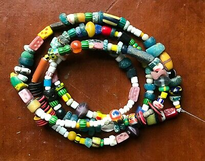 """Strand of Miixed Ancient, Antique & Vintage African Trade Beads, 28"""" Strand"""