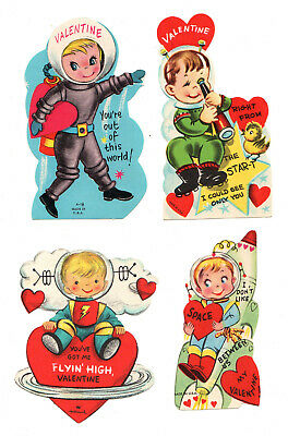 Lot 4 Cute Astronauts In Outer Space / Vintage Valentine Cards