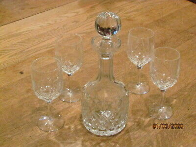 Lead Chrystal Decanter And Four Glasses