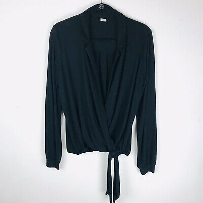 Three Dots Womens Size XL Black Long Sleeve Wrap Jersey Top Solid Stretch