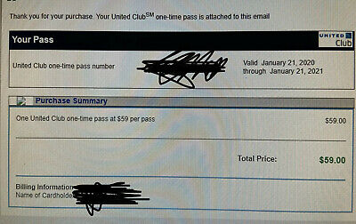 2 Passes for United Club One Time Pass EXP 01/21/2021 NOT CHASE E-pass available