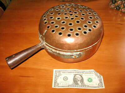 Rare And Unusual Hand Hammered Perforated Copper  Bed Warmer Forged Iron Handle