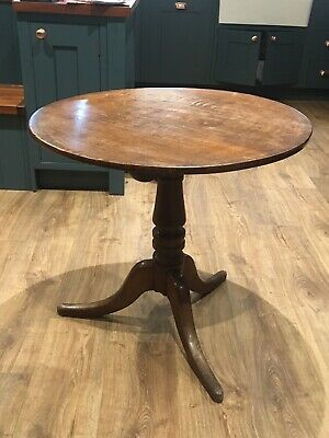 Solid Oak Tilt Top Georgian 18th Century Round Occasional Table