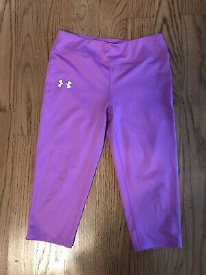 Under Armour Youth Size Large Purplish Capri fitted Leggings- Exc Cond