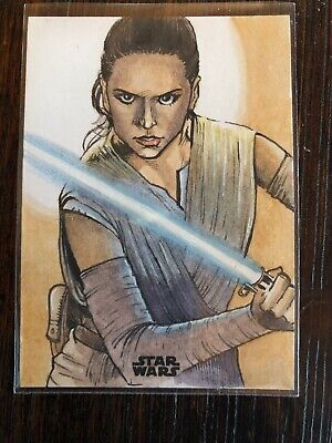 2018 Topps Star Wars Finest Sketch Card Of Rey, Daisy Ridley On 1/1 Darrin Pepe