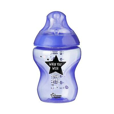 Tommee Tippee Closer to Nature Decorated Bottles, 260 ml, 6pk Colour:Blue/Purple