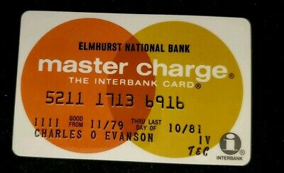 Elmhurst National  Bank MasterCharge exp 81♡Free Shipping♡cc320♡Town & Country