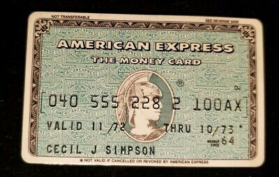 American Express Green The Money Card Credit Card exp 1973♡Free Shipping♡cc541