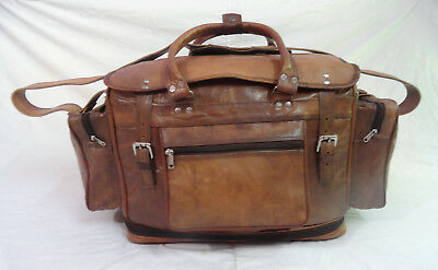 "22"" Vintage Leather Travel Duffle Bag Overnight Weekend Luggage Bag Expendable"