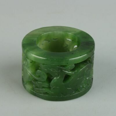 Chinese Exquisite Hand-carved Hetian jade Hollow Thumb ring