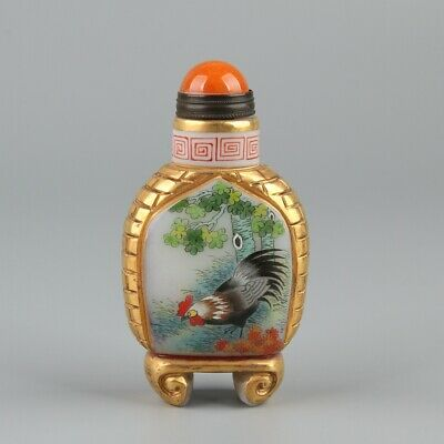 Chinese Exquisite Handmade Cock pattern Glass snuff bottle