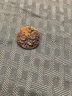 Antique Brass BUTTON VICTORIAN Tinted Flowers