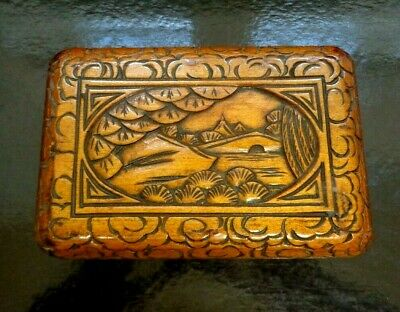 Antique Chinese Hand Carved Wooden Camphor Box. SMALL 6 X 3 INCH