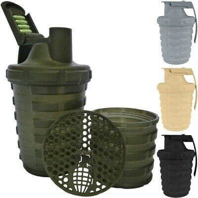 NEW Grenade 20 oz. Shaker Blender Mixer Bottle w 600ml Protein Cup Compartment