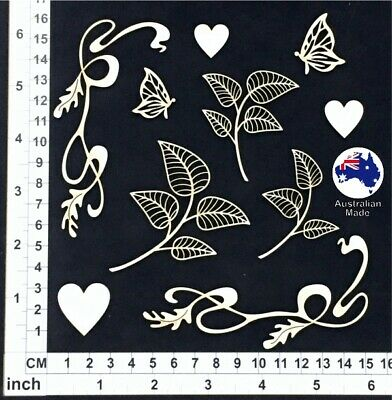 Chipboard Embellishments for Scrapbooking, Cards - Flourishes & Leaves 01 CB5189