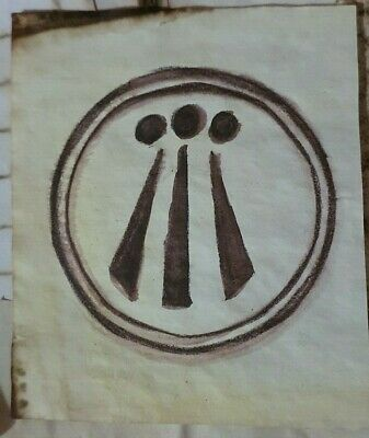 Stained Paper Awen Symbol Watercolour Sigil Journal Grimoire Spellbook