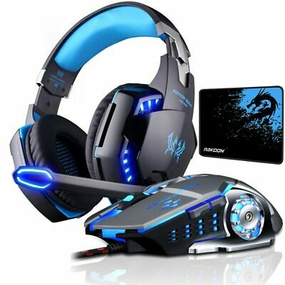 Combo set Gaming Headset Deep Bass Stereo Game Headphone with Microphone LED ...