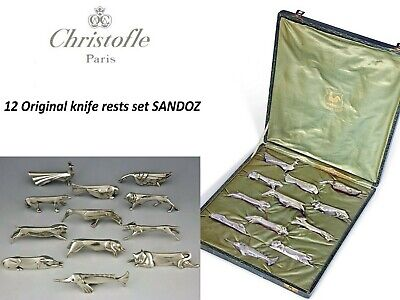 Christofle Gallia Porte couteaux Sandoz Knife rests Art deco X12 + Box