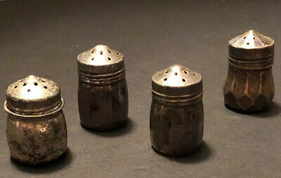 Vintage 4 STERLING SILVER MINI SALT & PEPPER SHAKERS Patina Antique Mixed Lot 4