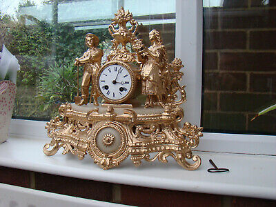 French 8 day strike mantel clock spelter and marble original pendulum working