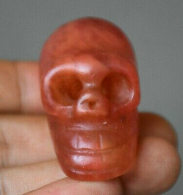 """2"""" China Hongshan Culture Old Red Crystal Carved Skull Head Statue Pendant JJ10"""