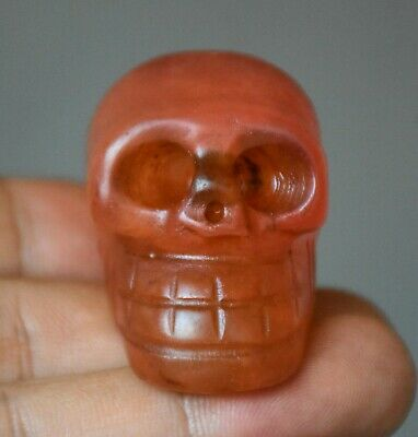 4.5CM Rare Hongshan Culture Old Red Crystal Carved Skull Head Statue Pendant