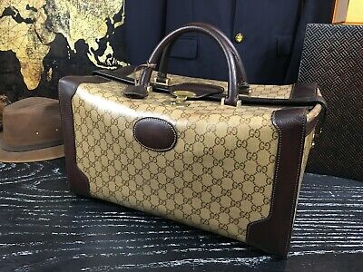 "GUCCI Italy Authentic 17"" Travel Duffle Doctor Overnight Carryall Bag Mens"