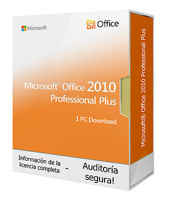 Microsoft Office 2010 PROFESSIONAL PLUS 1 PC Licencia de descarga