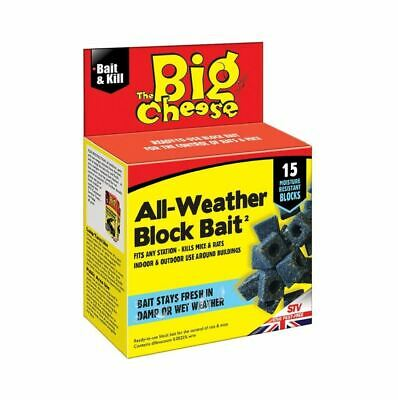 New Big Cheese All Weather Block Bait 15x10g Rat Mouse Killer Poison