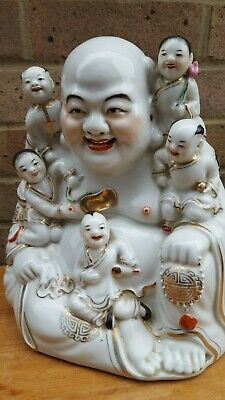 Vintage Large Chinese Laughing Buddha With Children Statue Feng Shui Symbolism