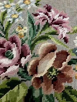 Preworked Vintage Needlepoint Tapestry Bucilla Floral Antique Canvas 23x23