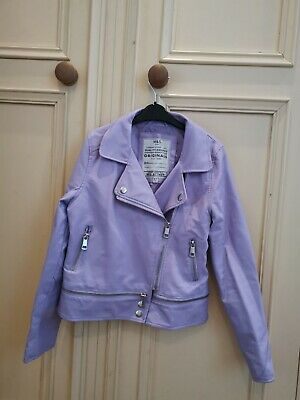 M&S Girls Biker Faux Leather Jacket Violet Age 8-9