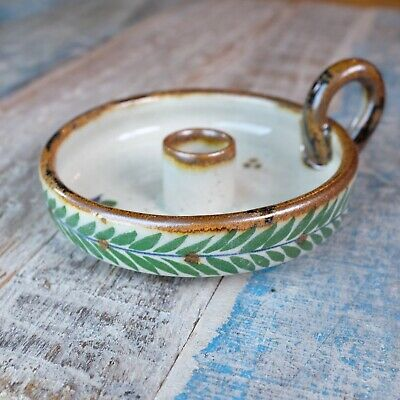 Mexican Stoneware Dish Candle Holder Green Leaves