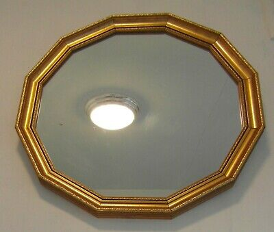 Large Vintage Mid Century Dodecagon (12 Sided) Gilt Wall Mirror