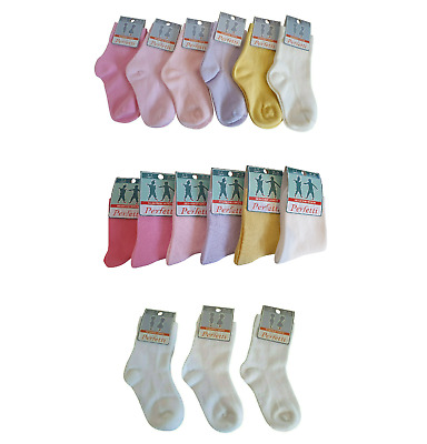 Baby Girls Kids Socks Pack of 3/6 Ankle High Plain Seamless Cotton Age 1-8 Years