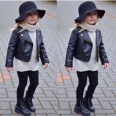 Fashion Winter Girl Boy Kids Baby Outwear Leather Coat Short Jacket Clothes Chic