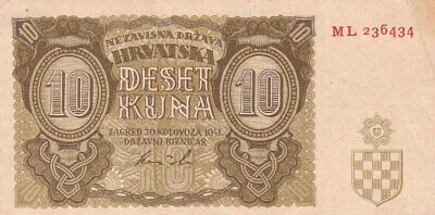 #Independent State of Croatia 10 Kuna 1941 P-5 XF 1st Issue Arms