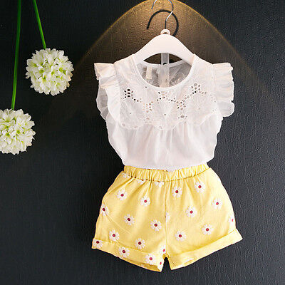 Toddler Baby Girls Summer Outfit Clothes Sleeveless Shirt Tops+Shorts Pants Chic